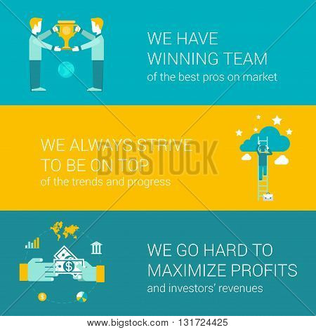 Company motto concept flat icons set of winning team pro strive top go hard maximize profit money and vector web banners illustration print materials website click infographics elements collection.