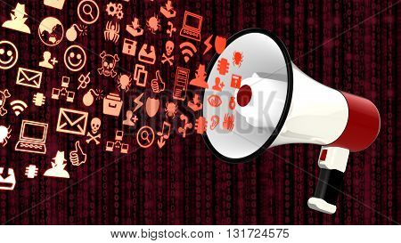 White megaphone emitting icons of common information security threats 3D illustration