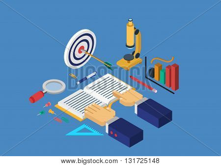 Flat 3d isometric concept vector infographics education science