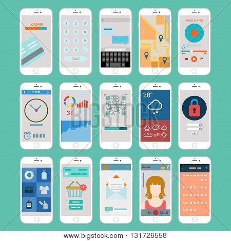 Flat mobile app smart phones user interface application windows
