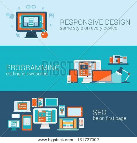 Web design programming SEO concept flat template set vector