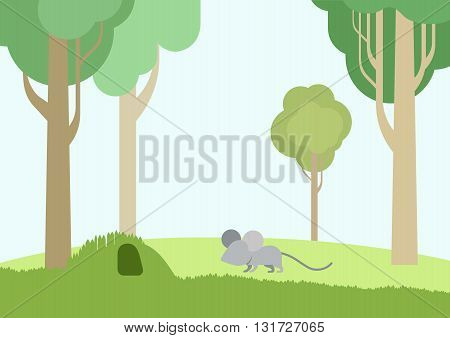 Flat vector cartoon wild animals: baby mouse and burrow