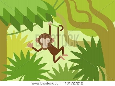 Monkey on the climber tree branch jungle flat design cartoon vector wild animals. Flat zoo nature children collection. poster