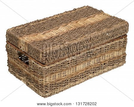 Three-quarter view of closed wicker basket. Isolated on the white background. No shadow.