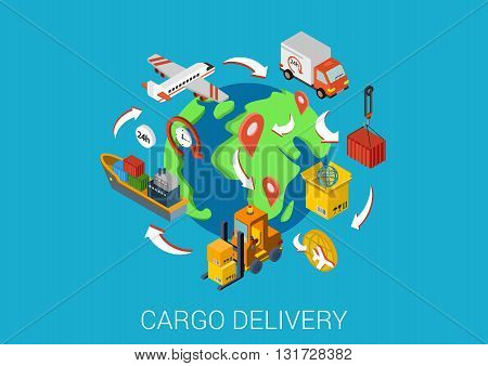 Logistics cargo delivery flat 3d isometric vector infographic