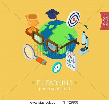 E-learning online global education flat 3d isometric concept