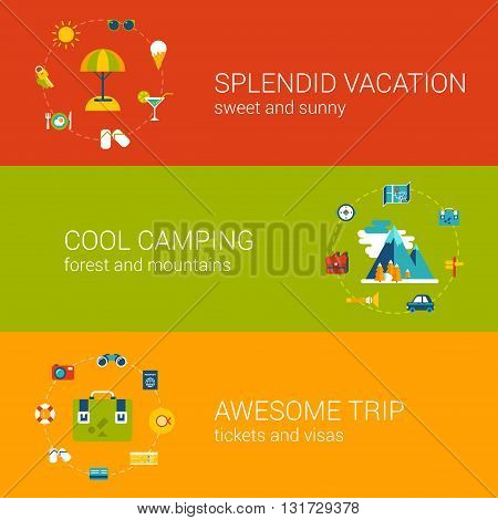 Travel vacation tourism holiday flat web banners template set