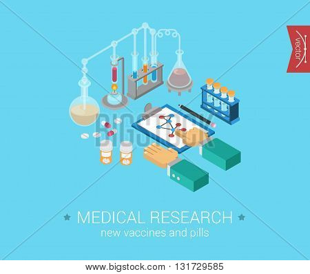 Medical research flat 3d isometric modern concept vector icons