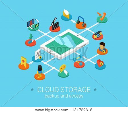 Cloud storage flat 3d isometric vector infographic