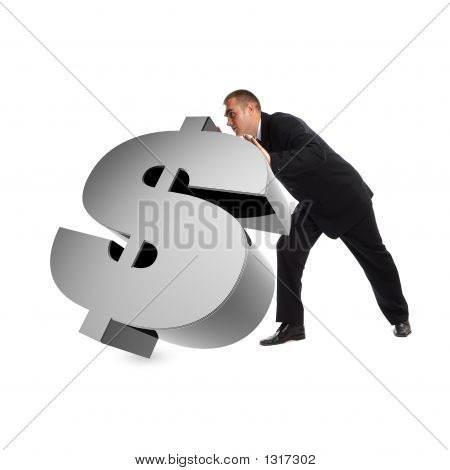 Businessman With 3D Dollar Sign