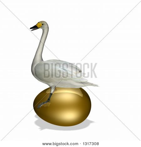 Goose Sitting On Golden Egg