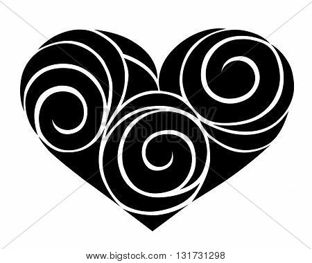 Heart. Decorative silhouette. Isolated on white. Vector illustration.