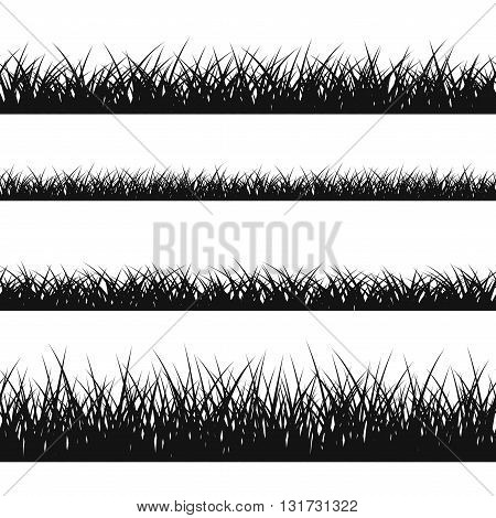 Grass silhouette seamless pattern. Nature lush landscape background Horizontal black contour isolated on white. Symbol of field lawn park and meadow fresh summer. Design element Vector illustration