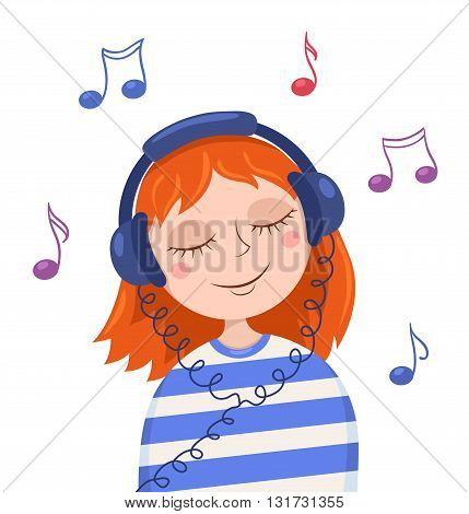 Cute red girl listens to music. Vector cartoon illustration. Isolated on white.