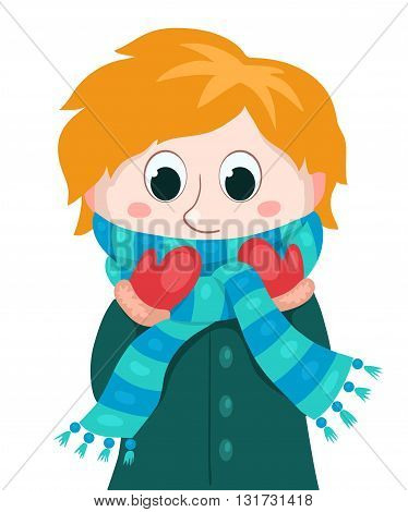 Little boy in winter clothes. Vector cartoon illustration. Isolated on white.