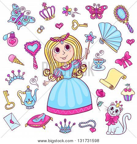Set with cute little princess. Cartoon vector illustration for children. Isolated on white.