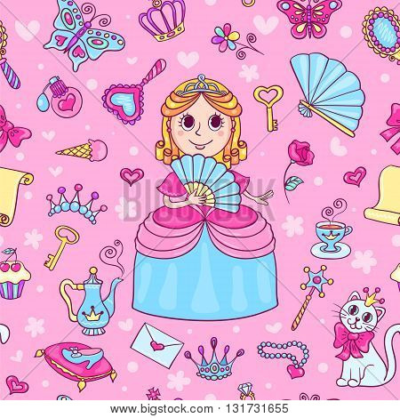 Seamless pattern with cute little princess with a diadem. Cartoon vector background for children.