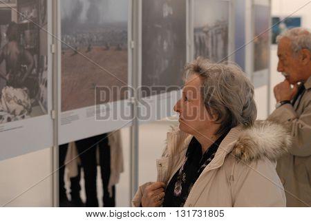 ANKARA/TURKEY-MARCH 30, 2016: Spectators at the CSM Art Gallery during the 6th Ankara Photo Days of FSK. March 30, 2016-Ankara/Turkey