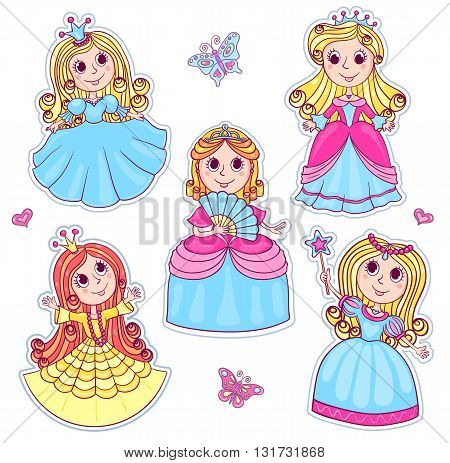 Five cute little princesses. Set of cartoon vector stickers for children. Isolated on white.