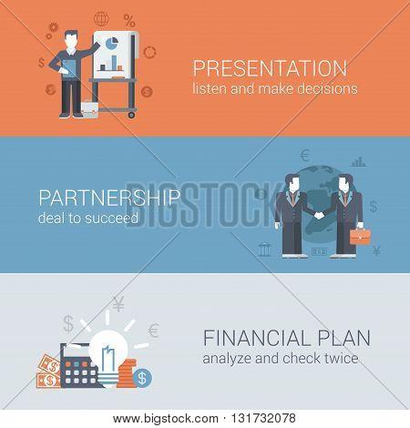Flat businessman presentation partnership financial plan concept