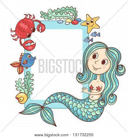 Sea blue frame with the mermaid and marine animals. Vector cartoon illustration.