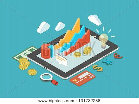 Tablet, chart, analytics, finance, monetary flat 3d infographic