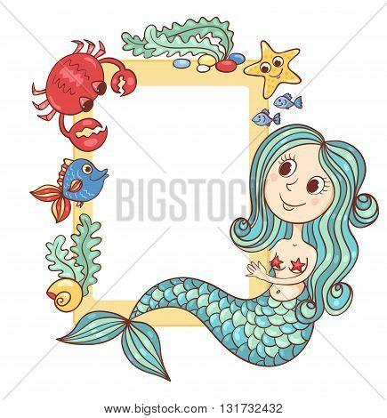 Sea yellow frame with the mermaid and marine animals. Vector cartoon illustration.