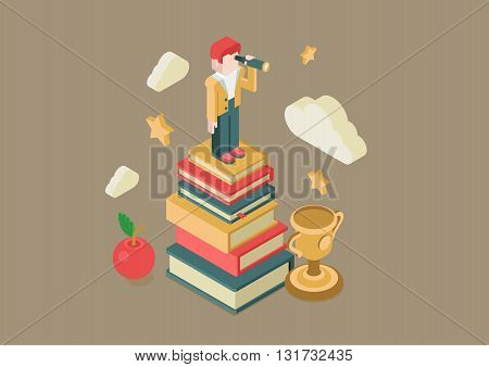 Education and knowledge flat 3d isometric vector infographic