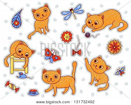 Set of stickers with the happy playing red cats. Vector cartoon illustration.