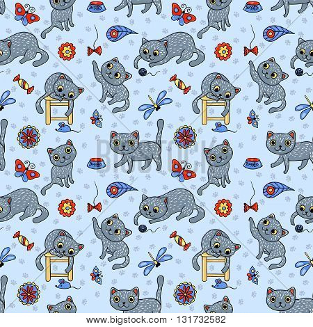 Seamless pattern with the happy playing grey cats. Vector cartoon background for children.