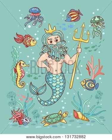 Card with Neptune. Children vector cartoon illustration.