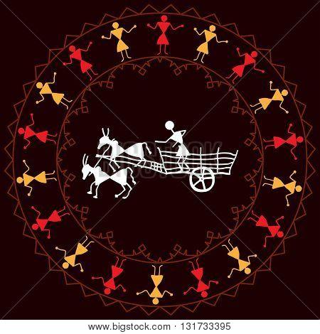 Folk Design Bullock Cart Vector Illustration