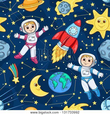 Seamless pattern with cute little astronaut. Cartoon children background.