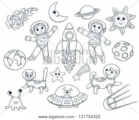 Children in the space. Cartoon vector lineart set. Isolated on white.