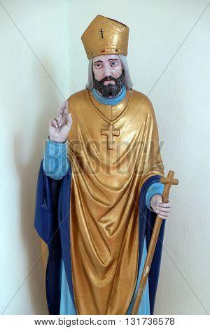 SVETI MARTIN POD OKICEM, CROATIA - SEPTEMBER 16: Statue of Saint Martin in the church of Saint Martin in Sv. Martin pod Okicem, Croatia on September 16, 2015.