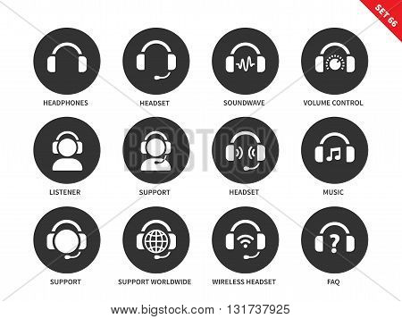Headphones and headsets vector icons set. Music and technology items, call-centre concept, headphones, headsets, support, music, sound wave, listener. Isolated on white background