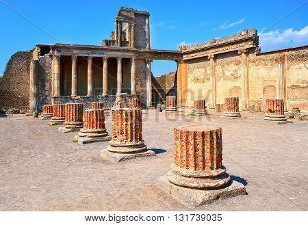 Ruins Of Antique Roman Temple In Pompeii, Naples, Italy