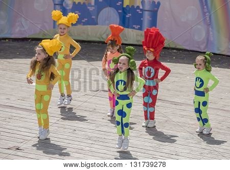 Rostov-on-Don Russia- May 222016: Performance talented children dance ensemble on the stage of the V. Cherevichkin Park