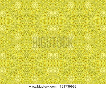 Abstract geometric background in quiet colors. Seamless pattern with floral circle elements in pastel green, brown, yellow and beige.