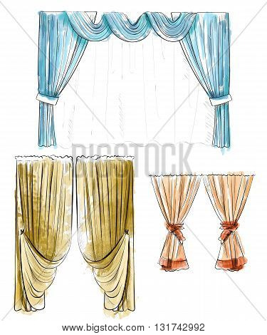 Sketch design curtains windows. Background for use in design web site packing textile fabric decorative elements for interior. Curtain draped with lambrequins isolated on a white