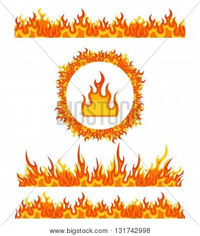 Simple fire border patterns and round fire frame. Flame borders vector. Border fire, pattern frame fire border, flame heat fire border illustration