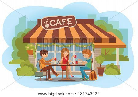 Three students friends talking friendly at coffee shop outdoor while drinking hot coffee and using laptop.