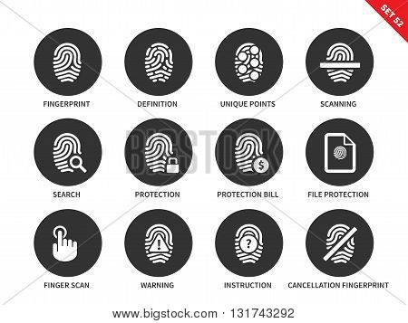 Fingerprint vector icons set. Admittance and protection concept. Items for security systems, definition, scanning, search, protection, warning. Isolated on white background.