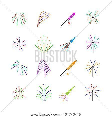 Color fireworks vector set. Firework event, firework pyrotechnic, carnival firework illustration