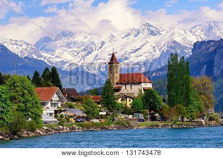 Brienz Town Near Interlaken And Snow Covered Alps Mountains, Switzerland