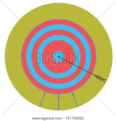 Right in bullseye. Arrow in target icon flat. Bullseye shot winner and aiming in centre bullseye. Vector flat design illustration