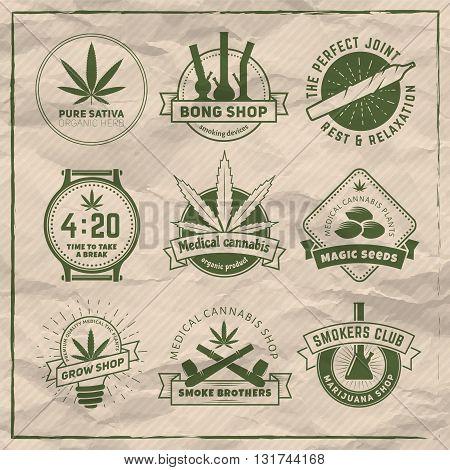 Set of vector marijuana smoking badges. Medical cannabis labels