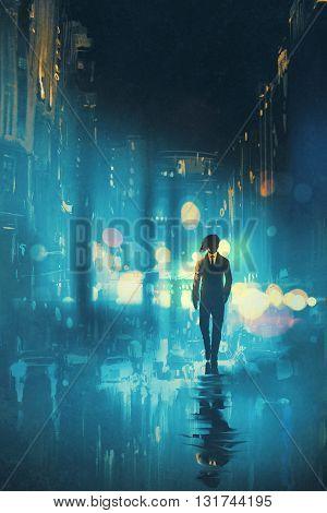 man walking at night on the wet street, illustration