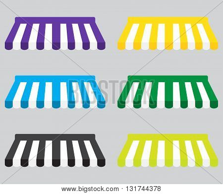 Awning color striped set for store element design. Set of canopy and tent blind for store awning. Window awning and shop awning vector illustration