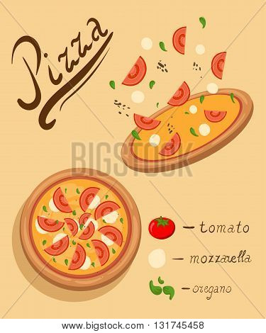 Pizza on the board and the ingredients for the pizza set of flat pizza icons isolated on white illustration of tasty pizza Pizza menu illustration isolated. Pizza vector collection isolated on white.